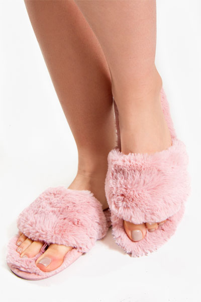 PJ Salvage Blush Fur Slippers