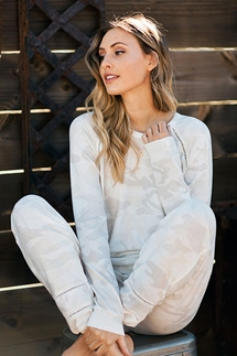 PJ Salvage Camo Ivory Top and Pant Set