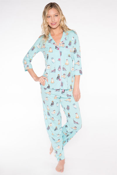 PJ Salvage Cat Pajama Set & Eye Mask