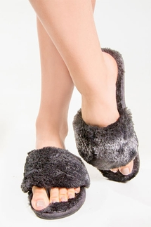 PJ Salvage Charcoal Fur Slippers