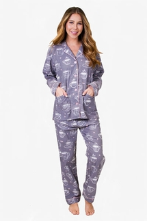 PJ Salvage Coffee Time Flannel Pajama Set