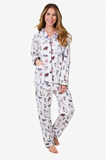 PJ Salvage Cowboy Dogs Flannel Pajama Set