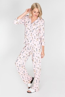 PJ Salvage Dog Flower Crown Pajama Set with Eye Mask