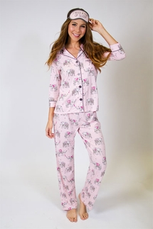 PJ Salvage Elephant Pajama Set & Eye Mask
