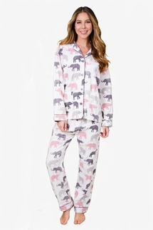 PJ Salvage Elephant Walk Flannel Pajama Set