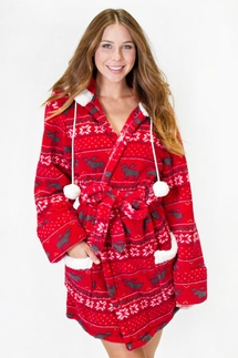 PJ Salvage Fair Isle Cozy Red Robe