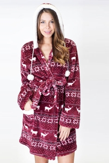 PJ Salvage Fair Isle Cozy Wine Robe