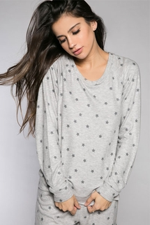 PJ Salvage Gray Star Long Sleeve Top