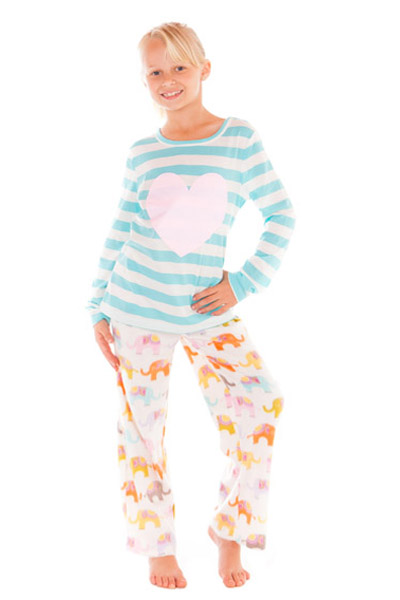 PJ Salvage Heart and Elephant Kids Pajama Set