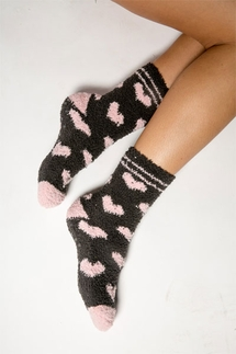 PJ Salvage Heart Plush Socks