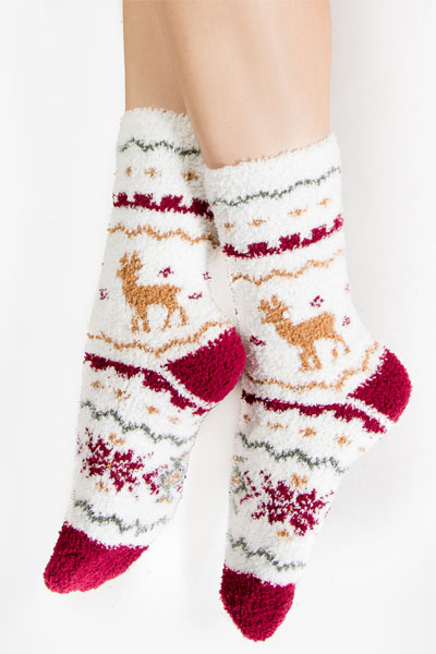 PJ Salvage Holiday Reindeer Plush Socks