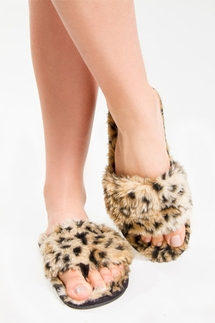 PJ Salvage Leopard Fur Slippers