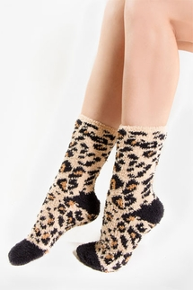 PJ Salvage Leopard Plush Socks