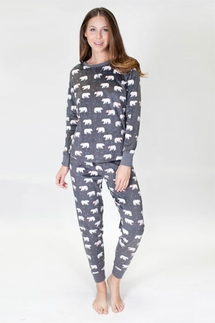 PJ Salvage Mountains Polar Bear Polar Fleece Pajama Set