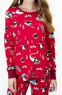 PJ Salvage Penguin Run Velour Thermal Pajama Set