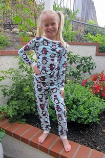 PJ Salvage Penguins KIDS Vintage Velour Pajama Set