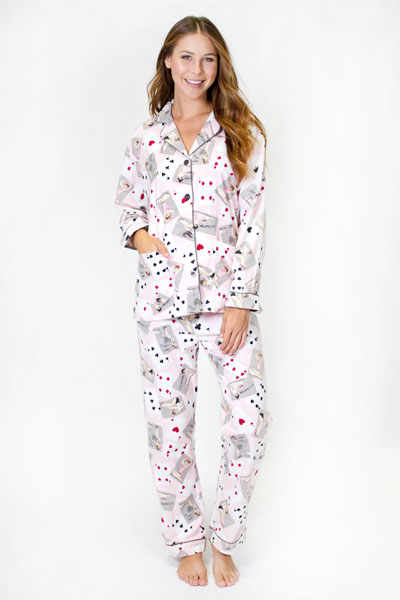 PJ Salvage Pin Up Cards Flannel Pajama Set