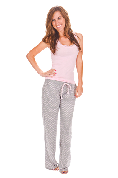 PJ Salvage Pink Ribbed Tank and Heart Pant Pajama Set