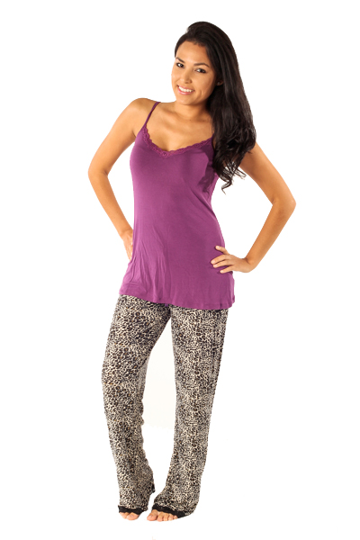 PJ Salvage Purple Tank and Leopard Pant