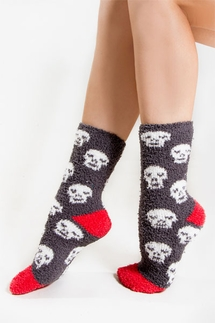 PJ Salvage Skull Plush Socks