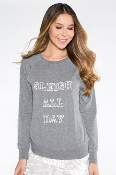 PJ Salvage Sleigh All Day Long Sleeve and Crushin' It Blush Pant Set