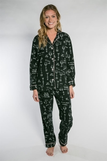 PJ Salvage Wine Flannel Pajama Set