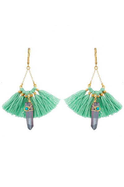 Shashi Celeste Mint Tassel Earrings