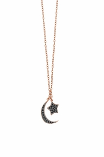 Shashi Moon Star Rose Gold Necklace