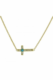 Sugar Bean Jewelry Sideways Gold Cross with Turquoise Necklace