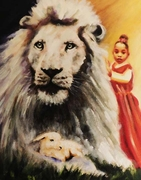 Little Princess with the Lion and Lamb. 8.5 x 11 Print