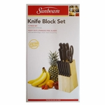 Basic 13 pc. Knife Block Sets with Shears - Stainless Steel Blades, Always Sharp Serrated Edge, Pinewood Block