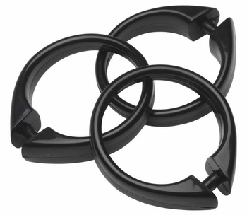 Black Snap Type Round Plastic Shower Curtain Rings w/Snap Lock - Value Choice
