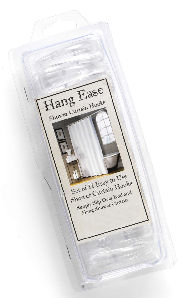 Super Clear Hang Ease C Type Plastic Shower Curtain Hooks