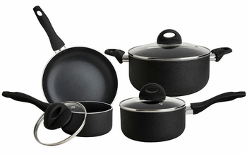 Premium 7 pc. Non-Stick Aluminum Cookware Sets - Durable, Modern Leather Finish