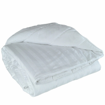 Queen T-250 Low-Wrinkle Eco-Fill White Dobby Stripe Comforters