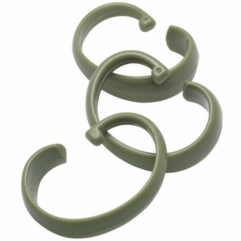 "Sage Green Hang Ease ""C"" Type Plastic Shower Curtain Hooks - Easy Hang, Value Choice"
