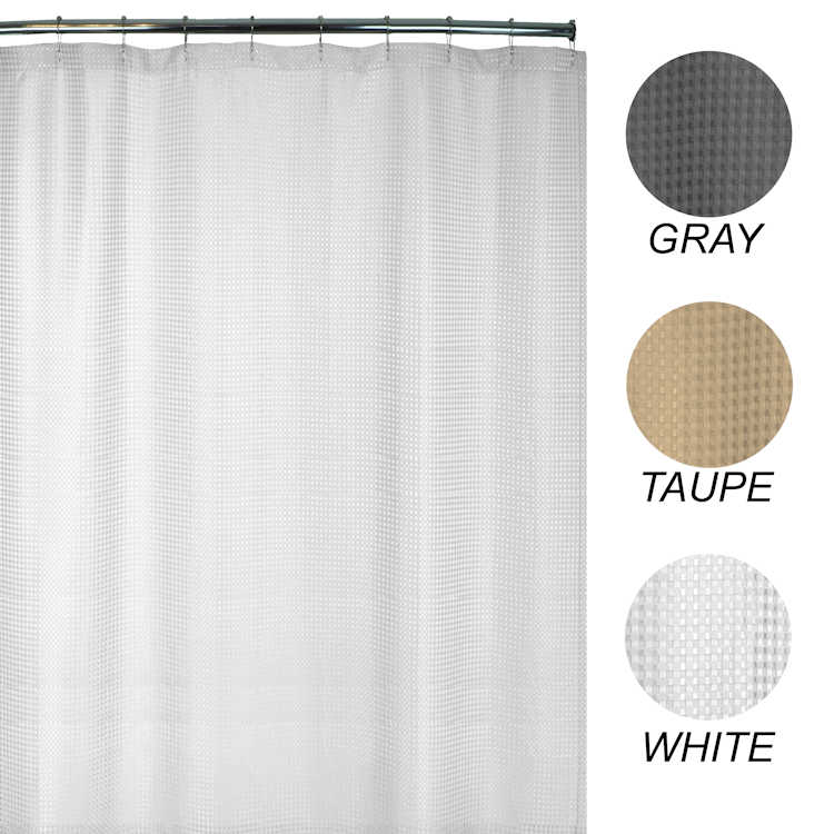 Heavy-Weight Fabric Shower Curtains, Extra-Long 72x78 - Waffle Weave ...