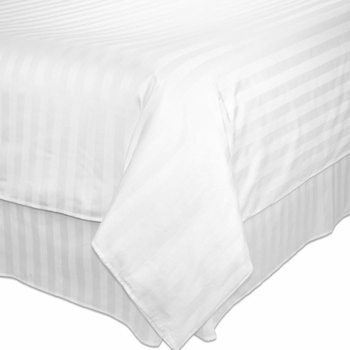 T-250 Duvet Covers - White Dobby Stripe - Low-Wrinkle Cotton/Poly Blend