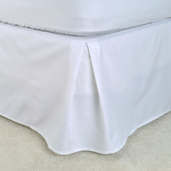 "T-250 Bed Skirts - White Dobby Micro-Check - Pleated Taylored 15"" Drop, Low-Wrinkle"