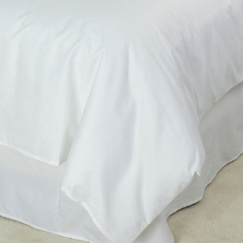 T-250 Duvet Covers - White Dobby Micro-Check - Low-Wrinkle Cotton/Poly Blend