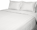 T-250 White Dobby Stripe Hospitality Comforter Bedding - Down Alternative Eco-Fill