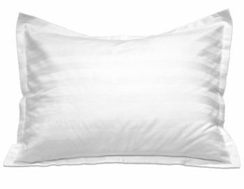 T-250 Pillow Shams - White Dobby Stripe - Low-Wrinkle Cotton/Poly Blend