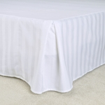"T-250 Bed Skirts - White Dobby Stripe - Pleated Taylored 15"" Drop, Low-Wrinkle"