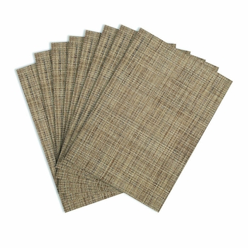 Tweed Natural Woven Vinyl Placemats, 13x18 inch, Rectangle, Benson Mills
