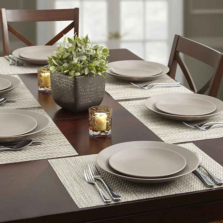 Wholesale Twill Ice Woven Vinyl Placemats Tight Weave