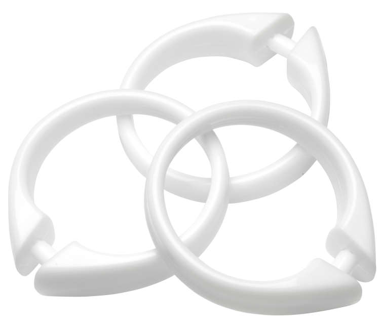 Wholesale Snap Type White Plastic Shower Curtain Rings