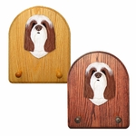 Bearded Collie Key Rack-Brown-White
