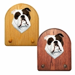 English Bulldog Key Rack-Brindle-White