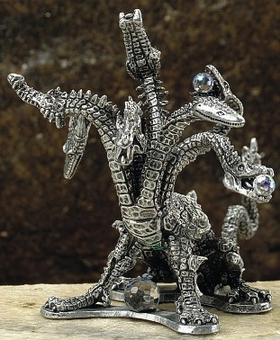 7 Headed Hydra Pewter Dragon