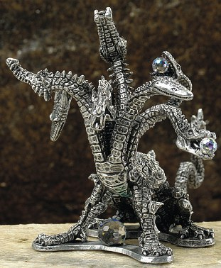7 headed hydra pewter dragon figurine dragon gifts - Pewter dragon statues ...